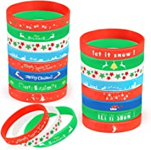 Coogam 40PCS Christmas Silicone Bracelets, Xmas Rubber Wristbands Accessories Gift for Kids Adults Stocking Stuffers, Holi...
