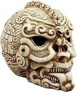Ebros Gift Aztec Quetzalcoatl Snake Cranium Skull Statue Halloween Skeleton Head Figurine