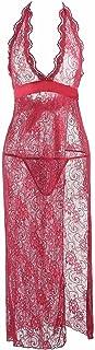 IngerT Women's Sexy Deep V Neck Babydoll Backless Mesh Nightwear with Thong Lingerie Set