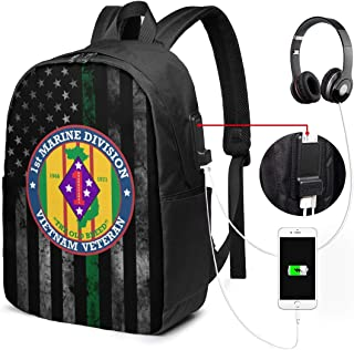 1st Marine Division Vietnam Veteran Travel Laptop Backpack Casual Hiking Daypack with USB Charging Port