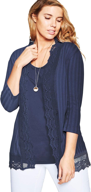 Roamans Women's Plus Size Crochet Trim Cardigan 3/4 Sleeves