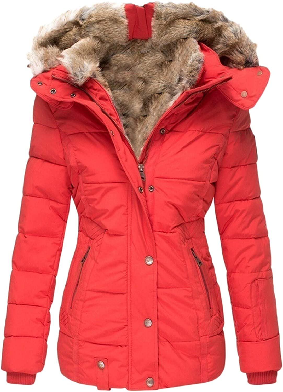 Women's Hoodies Winter Straight Line Zipper Buttons Closure Faux Fur Jacket Supper Warm Coat