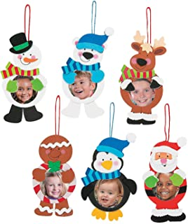 Fun Express - Christmas Character Picture Ornament ck for Christmas - Craft Kits - Ornament Craft Kits - Photo Ornament - Christmas - 12 Pieces