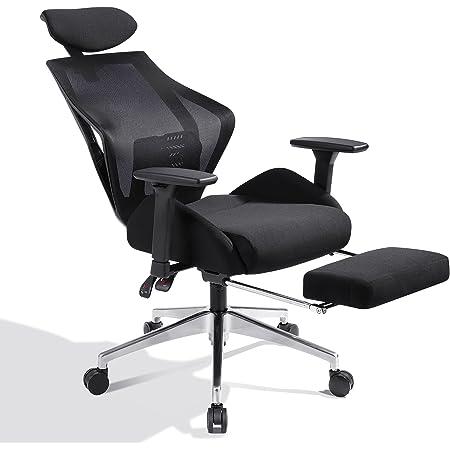 DEVAISE オフィスチェア オットマン付き 160°リクライニング S字立体背もたれ デスクチェア パソコンチェア ハイバック メッシュ 通気性 ブラック ORABGY608BL