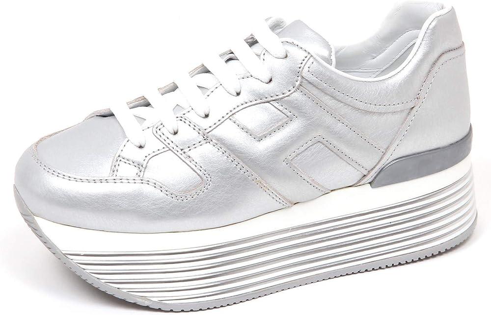 Hogan sneakers donna  in pelle metallizzata con h laterale imbottita HXW3520T548I6EB200