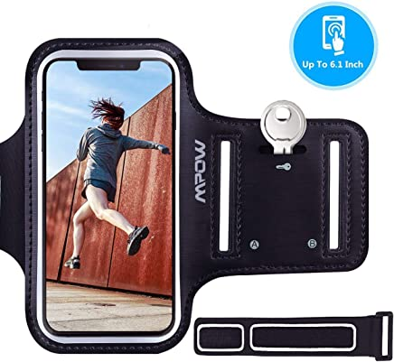 Mpow Running Armband for iPhone XS X 8 7 6s 6, Sweatproof Sports Armband with Running Earphone and Key Holder and Extension Strap, Suitable for iPhone X 8/7/ 6S/ 6 Up To 6.1 Inches