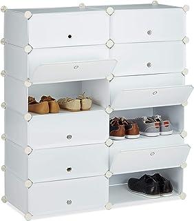 Relaxdays 10021979_49 Meuble Chaussures Fermé Rangement 12 Casiers Plastique Chaussures Modulable DIY Hxlxp: 108x94x37 cm,...