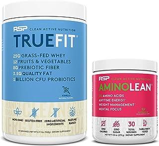 AminoLean Pre Workout Energy (Watermelon 30 Servings) with TrueFit Protein Powder (Vanilla 2 LB)