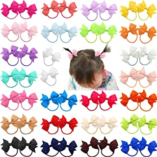"DeD 50 Pcs 2"" Grosgrain Ribbon Pigtail Hair Bows Elastic Hair Ties Hair Bands Holders Hair Accessories for Baby Girls Infa..."