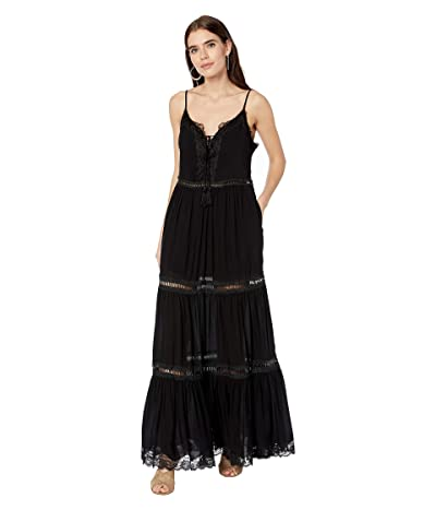 Jonathan Simkhai Lace Applique V-Neck Maxi Dress (Black) Women