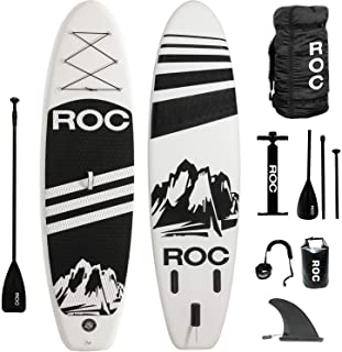Roc Inflatable Stand Up Paddle Boards W Free Premium SUP Accessories & Backpack, Non-Slip Deck Bonus Waterproof Bag, Leash, Paddle and Hand Pump Youth & Adult (Renewed)