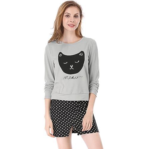 35457b77a4 Allegra K Women s Lovely Cat Prints Crew Neck Long Sleeves Top Shirt