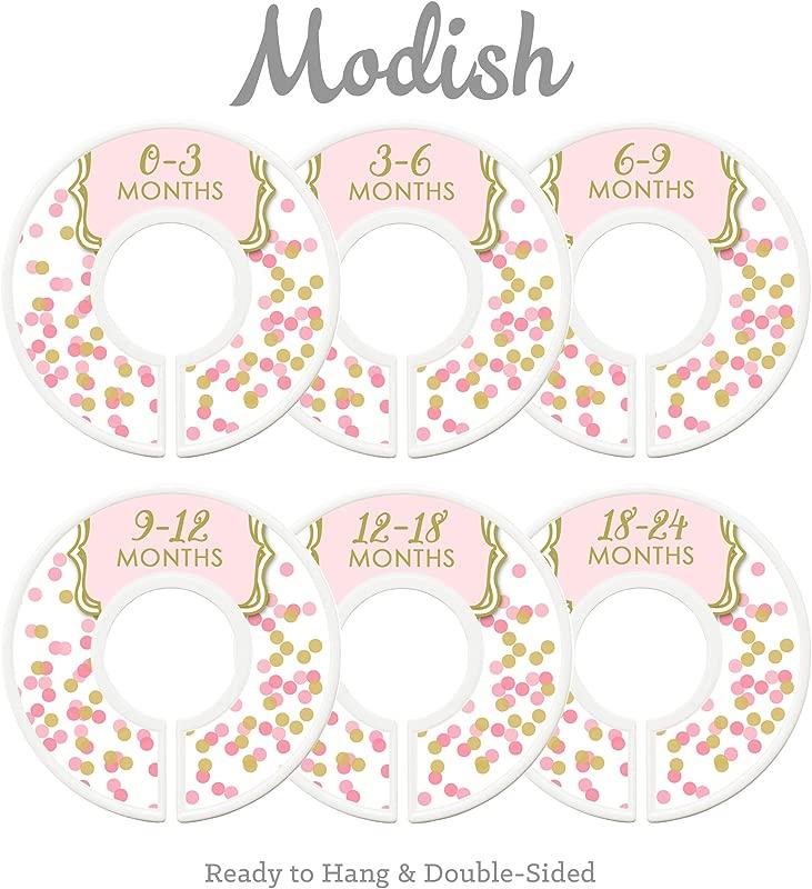 Modish Labels Baby Nursery Closet Dividers Closet Organizers Nursery Decor Baby Girl Pink Gold Confetti