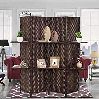 XXFBag 4 Panel Room Divider with 2 Shelves - 6 FT Tall Extra-Wide Folding Partition Handcrafted Mesh Weave Wood Portable and Lightweight Freestanding Privacy Screens for Home Bedroom Office Brown