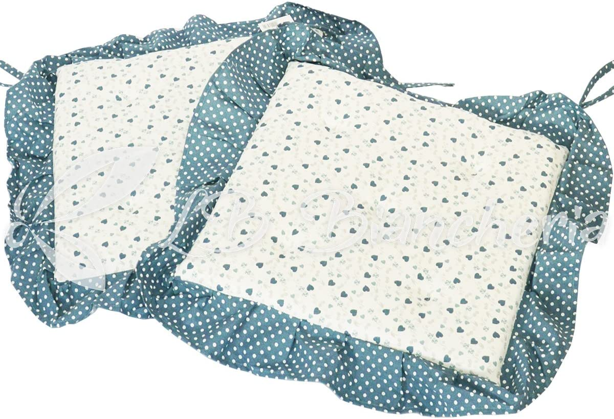 Par Cojines Silla Con voulant Cannes Shabby Country Chic cm 40x 40–Made in Italy–Verde Tiffany