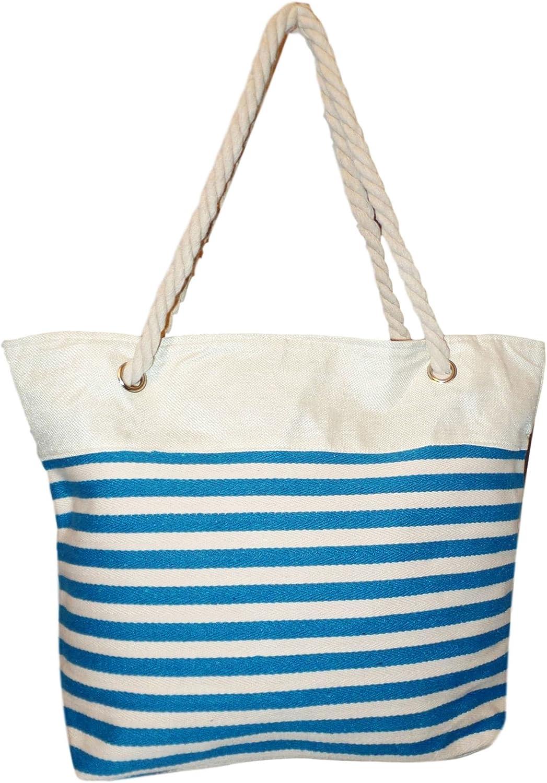 Medium Sized Zipper Top Stripe Canvas Beach Bag Tote