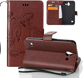 Huawei Y550 Case, OuDu Embossing Pattern Case Printing Design Cover Stylish Flower&Butterfly Case for Huawei Y550 PU Leather Case Flip Wallet Shell Stand Function Case - Brown
