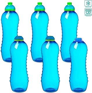 Sistema Sports Squeeze Water Bottles Bulk, BPA Free ~ Bundle of 6 Deluxe Water Bottles for Kids Men Women Bikes Running, 21 Ounces (Team Pack) (Blue)
