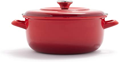 Merten and Storck German Enameled Iron 1873 Foundry Red Dutch Oven, 5.3QT