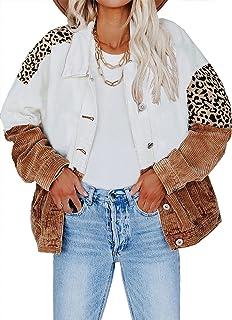 Happy Sailed Womens Leopard Contrast Denim Jackets Oversize Long Sleeve Button Down Pockets Jean Jacket Coats S-2XL