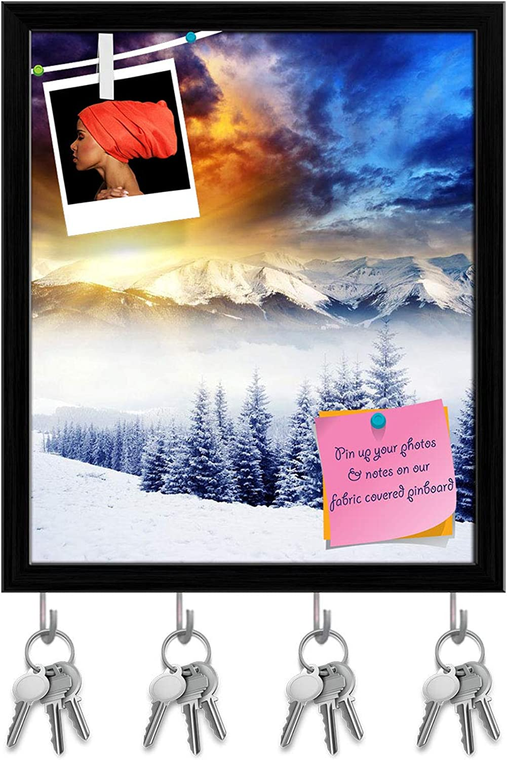 Artzfolio Majestic Winter Landscape D2 Key Holder Hooks   Notice Pin Board   Black Frame 16 X 18.9Inch