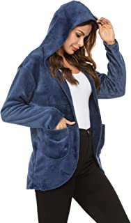 Ekouaer Flannel Sleepwear for Women Bed Jacket Warm Winter Coat Hooded Oversized Jacket Outwear Lounge Nightgown Housecoat