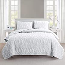 King Size Quilt Set in White Charming Beach Beautiful Blanket 3 Pc Set w/ Quilt, 2 Shams