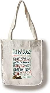 Lantern Press Eastham, Massachusetts - Cape Cod - Typography (100% Cotton Tote Bag - Reusable)
