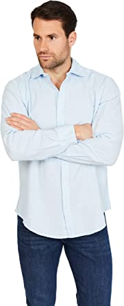 Jack Stuart - Camisa Hombre de Manga Larga, Lino y Algodón