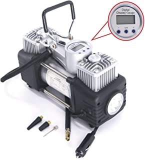 Brezleen Digital Display Double Cylinder DC 12V 150 Psi Tire Inflator Air Compressor with PVC Case