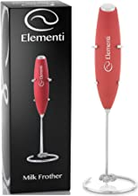 Elementi Milk Frother with Stainless Steel Whisk & Stand – Handheld Battery-Operated Drink Mixer, Coffee Frother, Milk Foamer, Cappuccino Maker, Great for Bulletproof Coffee, MCT Oil & Matcha Latte