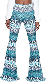 Tall Ladies S-2XL Soft Pattern Bell Bottoms Floor Length Ethnic Boho Flared Pants
