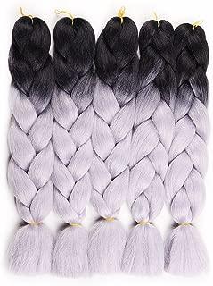 HAIR WAY 24inch Ombre Jumbo Braid Hair Extension 5 Pack 100g/PC Kanekalon Jumbo Braiding Hair for Twist Black-Silver Grey