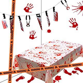 Lulu Home Halloween Bloody Party Decorations, Scary Party Favors 5 Piece Bloody Table Cover, Weapon Garland, Handprints, Footprints and Caution Tapes