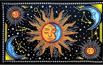 Tapestry Lovers Double Sun and Moon Tarot Wall Hanging Psychedelic Tapestry Hippie Tapestry Indian Mandala Wall Art Wall T...
