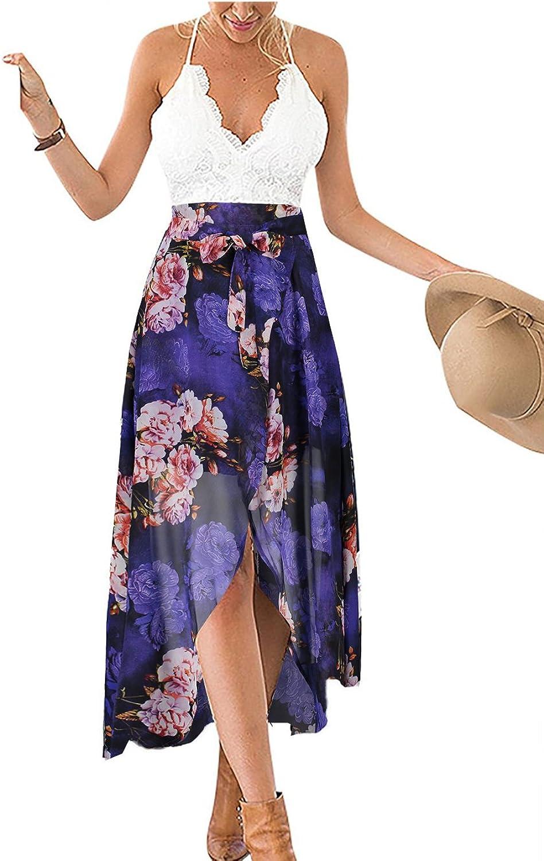 Famulily Women's VNeck Lace Patchwork Irregular Hem Halter Floral Maxi Dress