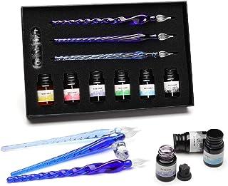 ガラスペンESSSHOPガラスディップペンインクボトルセット レインボークリスタルガラスペン、アート、ライティング、署名、書道、装飾用 描画ペン ペン本体*3+インク6本 万年筆 手帳