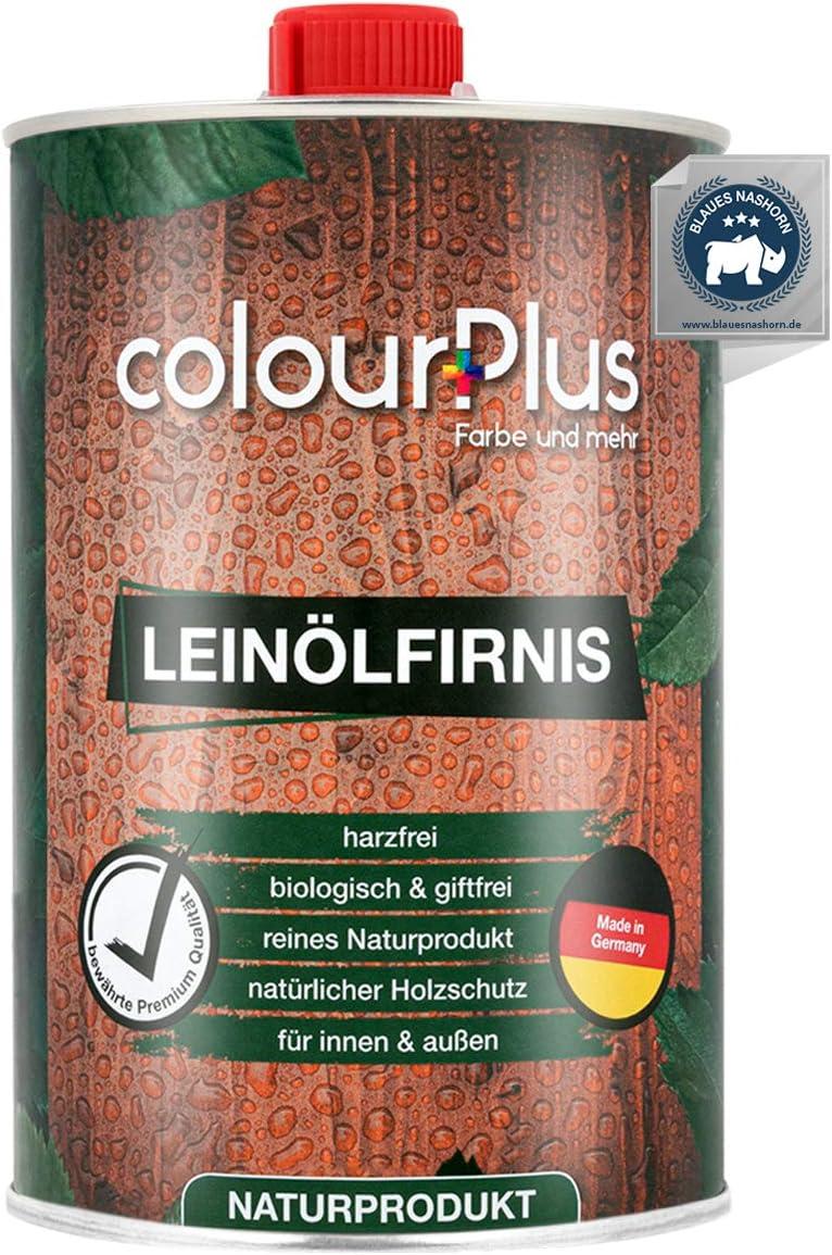 colourPlus® barniz madera aceite de linaza orgánico (1 litro, brillo sedoso) aceite de linaza para madera, interior y exterior - cuidado del aceite de la madera en el exterior