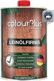 colourPlus® barniz madera aceite de linaza orgánico (1 litro, brillo sedoso) aceite de linaza para madera, interior y exte...