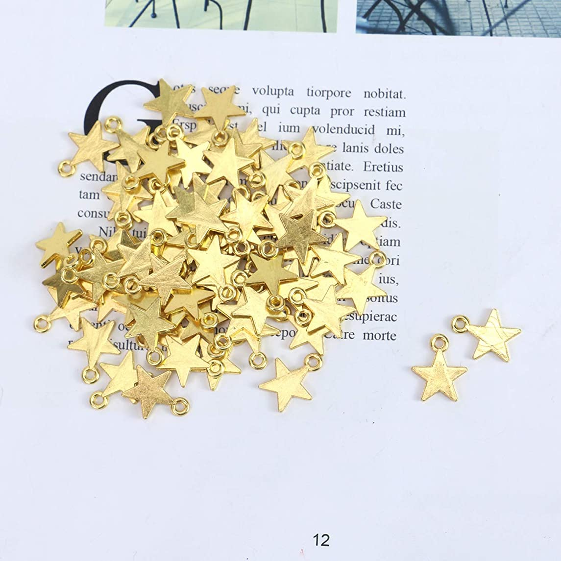 Monrocco 100 PCS Mini Star Charms 15 x 12 mm Polished Surface Vintage Antique Gold Alloy Star Charms DIY Jewelry Crafting Bracelet and Necklace Making