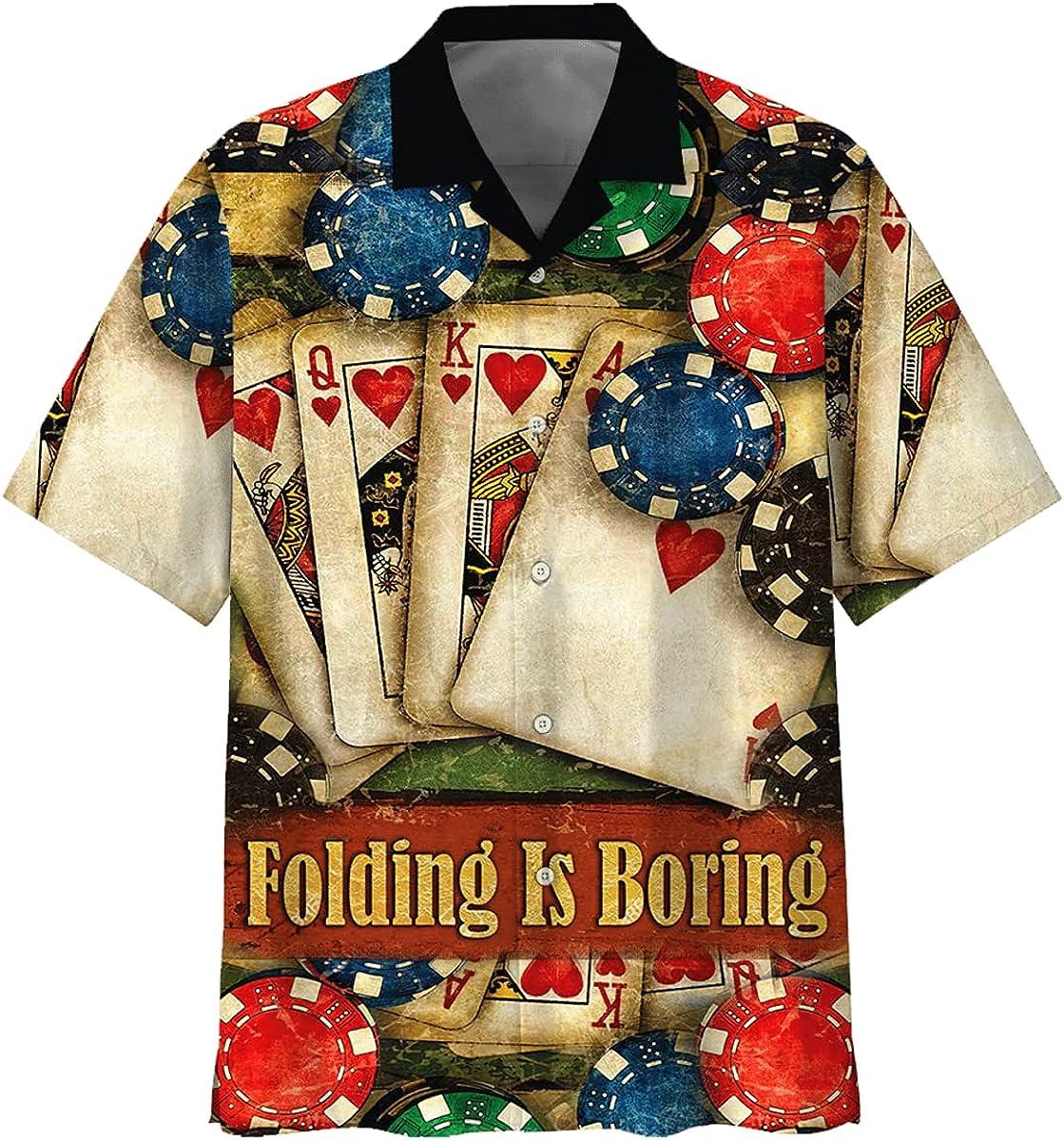 Poker Faces Card Folding is Boring Unisex Hawaiian Shirt, Beach Shorts for Summer Holiday Full Size 3XL, 4XL, 5XL for Men and Women