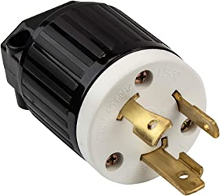 ENERLITES Industrial Grade 30A 125V Locking Plug, NEMA L5-30P, 2P, 3W, 66450-BK, Black