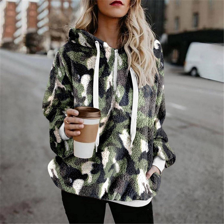 HCNTES Womens Hoodies Long Sleeve Zip Up Pocket Sweatshirt Fleece Leopard Pullover Outwear Lightweight Coat