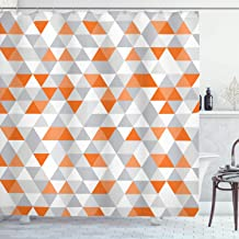 Ambesonne Geometric Shower Curtain, Triangles Argyle Polygon Patterns Vibrant Colors Zigzag Ornament, Cloth Fabric Bathroom Decor Set with Hooks, 84