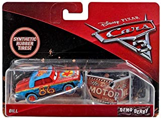 Cars Bill Demo Derby Disney 3 Diecast 1:55 Scale with Synthetic Rubber Tires