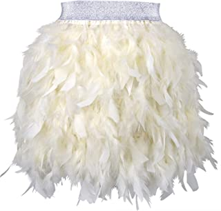 cream feather skirt