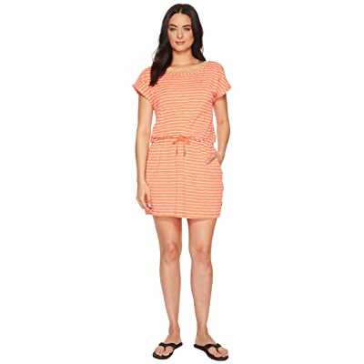 Jack Wolfskin Travel Striped Dress (Hot Coral Stripes) Women