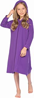 Ekouaer Girls Zip up Bath Robe Cover-Up Hoodie Nightgown Long Sleeve Housecoat with Pockets 4-13 Years