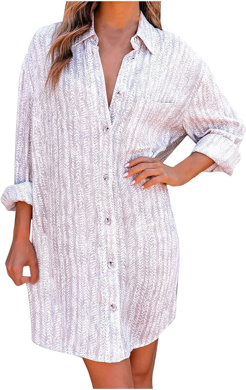Shirt Dress for Women Casual Long Sleeve Cardigan Dress Printed Striped Button Down Midi Skirt Lapel Beach Sundress
