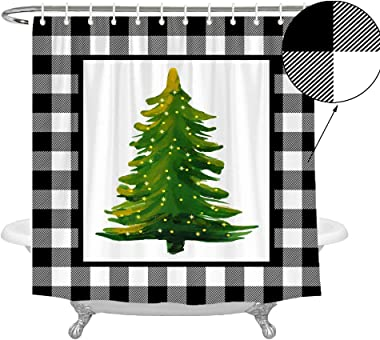 Wencal Buffalo Check Plaid Christmas Tree Shower Curtain Farmhouse Xmas Winter Bathroom Decor 72 x 72 Inches